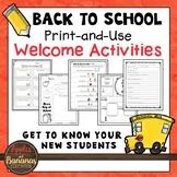 Back to School Welcome Activities