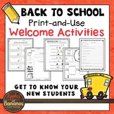 Back to School Welcome Activities