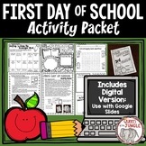 First Day of School Activities Back to School | Print and Digital