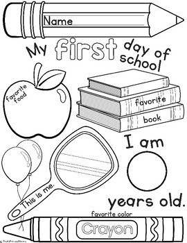First Day of School Activity Page