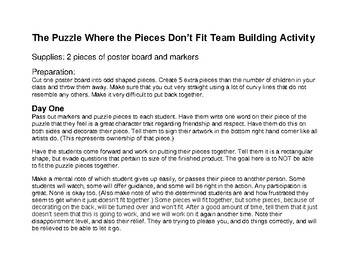 First Day of School Activity Puzzle for Entire Class Involvement w/Lesson