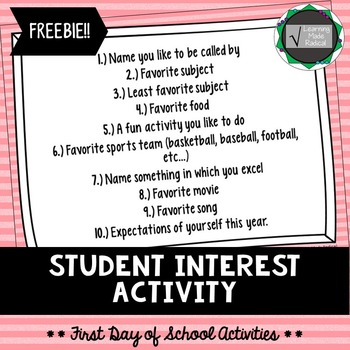 First Day of School Activity - Student Interest
