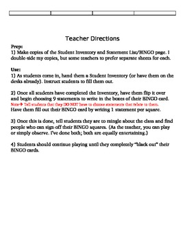 First Day of School Activity (Student Inventory and People BINGO)