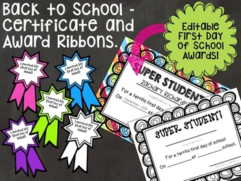 First Day of School Activity and Awards