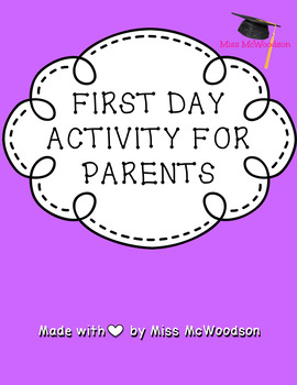 First Day of School Activity for Parents