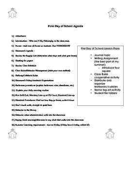First Day of School Agenda