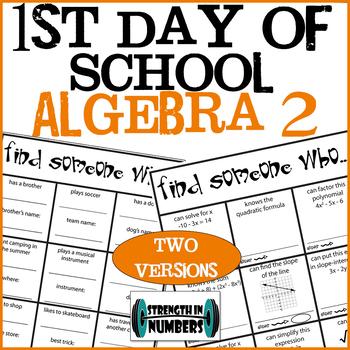 First Day of School Algebra 2 Find Someone Who Ice Breaker