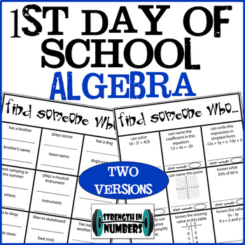 First Day of School Algebra Find Someone Who Ice Breaker