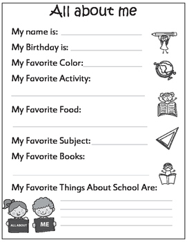 First Day of School: All About Me! (US and non-US versions)