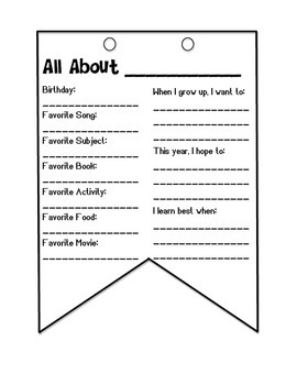 First Day of School: All About Me Banner