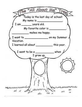 First Day of School All About Me Tree