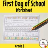 First Day of School Assessment Worksheet: Grade 3
