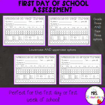 First Day of School Assessment Worksheet: Grade 3