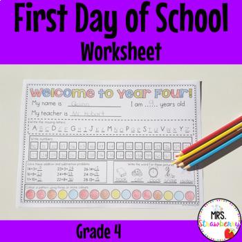 First Day of School Assessment Worksheet: Grade 4