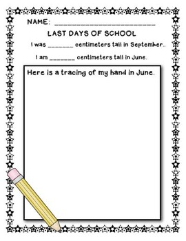 First Day of School Assignment - Time Capsule for Primary Kids