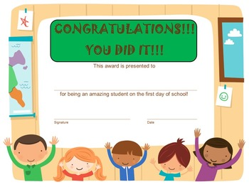 First Day of School Award