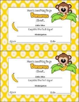 First Day of School Award - (Editable Monkey Theme)