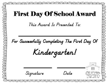 First Day of School Award!