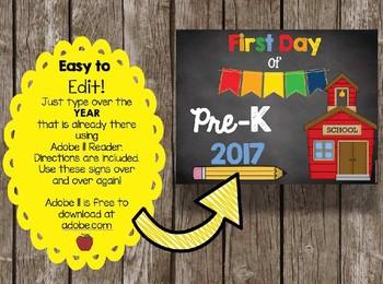 First Day of School Sign BUNDLE - Preschool - PreK - Kindergarten - ALL Grades