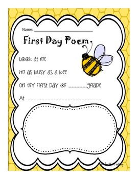 First Day of School Bee Poem