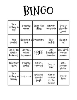 First Day of School Bingo!