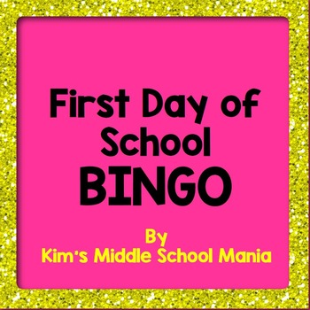 First Day of School Bingo-Great for Back to School
