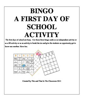 First Day of School Bingo - Getting to Know Your Classmate