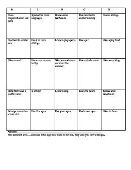 First Day of School Bingo Speaking Activity  for Spanish 1 or any World Language