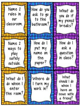Classroom Procedures Board Game