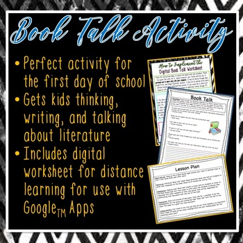 """First Day of ELA """"Book Talk"""" Activity"""