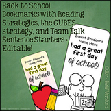First Day of School Bookmarks with Strategies Listed (Color + B&W)