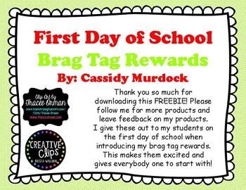 First Day of School Brag Tag Rewards FREEBIE- Printer Friendly