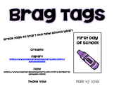 First Day of School Brag Tags