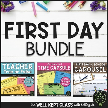 First Day of School Bundle (Teacher True or False & Carousel Survey Stations)