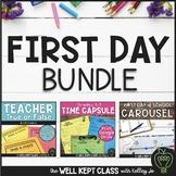 First Day of School Bundle (Teacher True or False, Time Cap & Survey Stations)