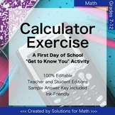 First Day of School Calculator Math Activity High School