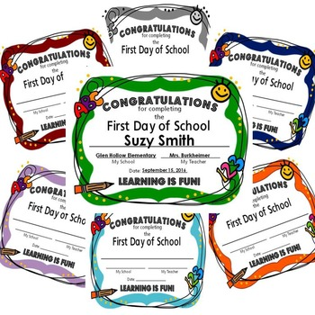 First Day of School Certificate - Color