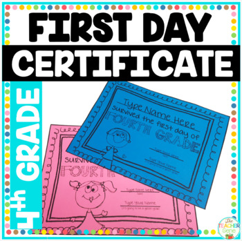 First Day of School Certificate (Fourth Grade) Editable