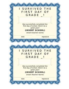 First Day of School Certificate (Kindergarten/Primary)