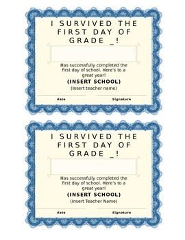 First Day of School Certificate (Kindergarten/Primary)