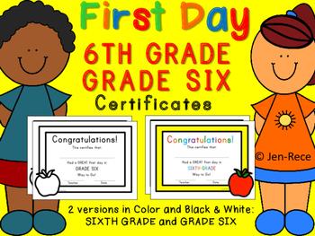 First Day of School Certificate - Sixth Grade  / Grade Six