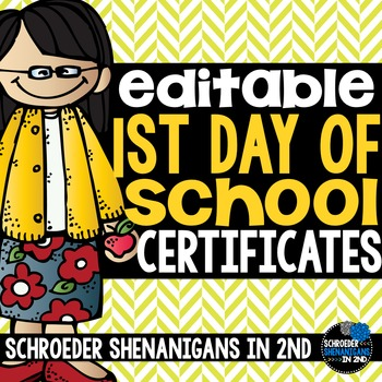 Back to School certificates - editable awards