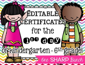 First Day of School Certificates {EDITABLE}