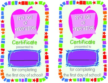 First Day of School Certificates! K-2 **FREEBIE**