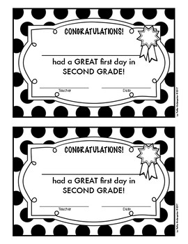 First Day of School Certificates (Pre-K through 5th Grade)