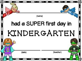 First Day of School Certificates (Superhero)