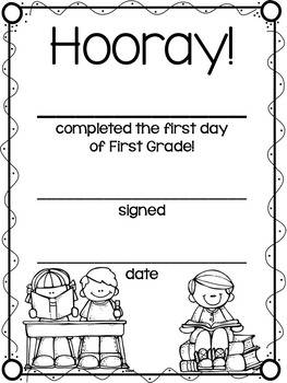 First Day of School Certificates and Coloring Worksheets
