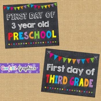 First Day of School Chalkboard Sign Bundle Pre-k K 1 2 3 4 5 Back to School Prop