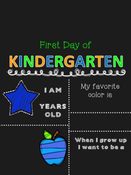 First Day of School Chalkboard Sign EDITABLE Preschool-12th grade BOY VERSION