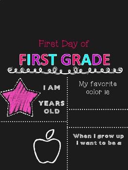 First Day of School Chalkboard Sign EDITABLE Preschool-12th grade GIRL VERSION
